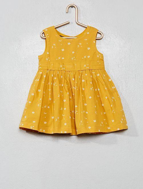 Robe en voile de coton imprimé 'fleurs'                                                     jaune
