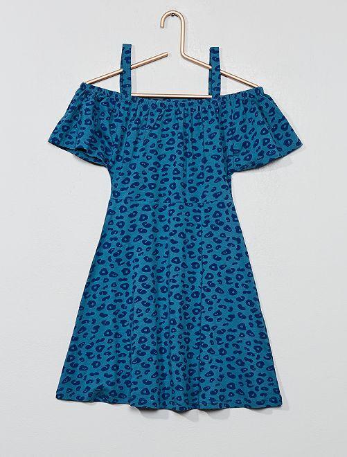 Robe encolure Bardot                                                                     bleu léopard