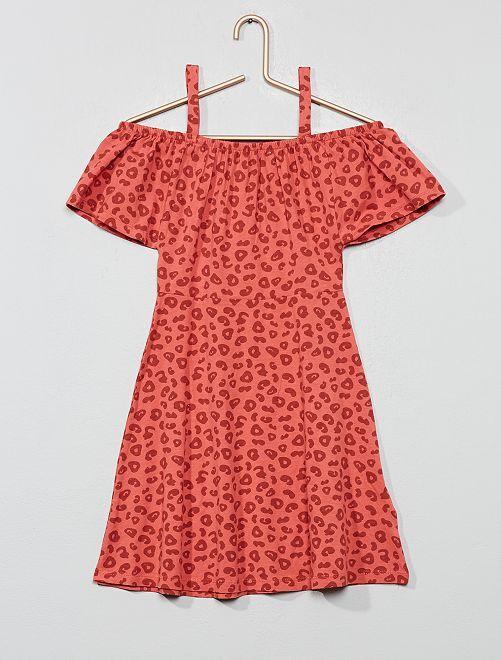 Robe encolure Bardot                                                                                         rose léopard Fille