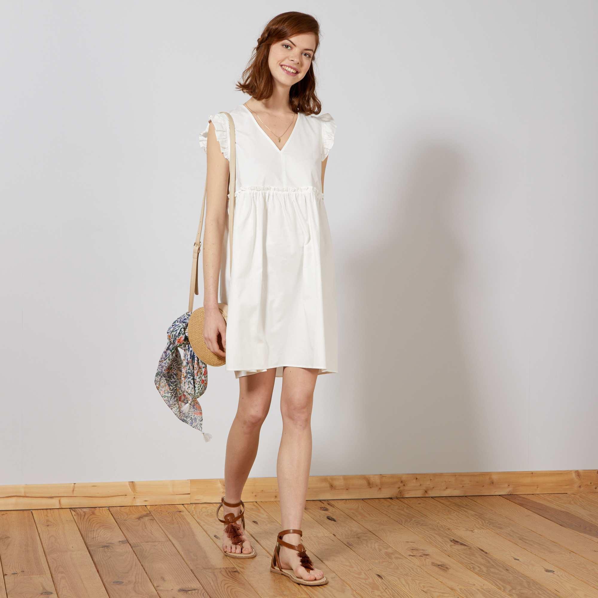 77a4997c210 Robe esprit baby doll Femme - blanc - Kiabi - 18