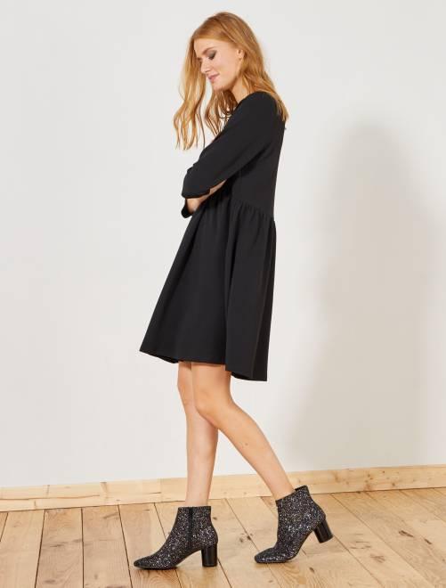 Robe évasée maille gaufrée                             noir