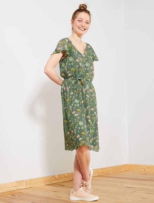 Robe fleurie en voile 'JDY'                             vert Femme