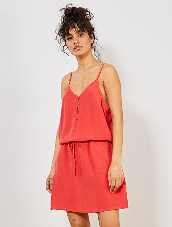 Robe Fine Bretelle Fluide Rouge