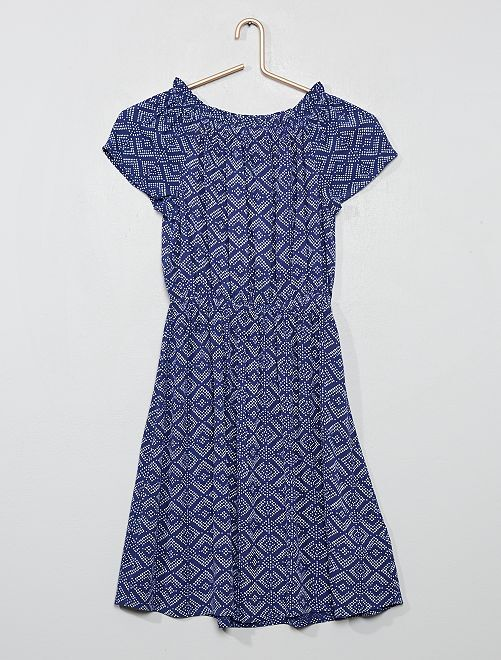 Robe fluide col Bardot                                                     bleu