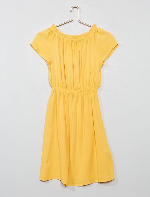 Robe fluide col Bardot                             jaune