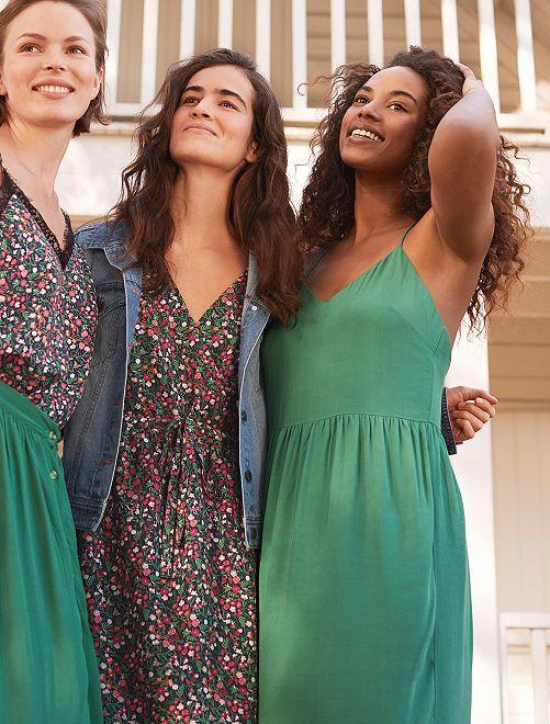 Robe fluide col V                             vert Femme