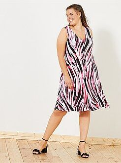 Grande taille femme - Robe fluide coupe patineuse - Kiabi