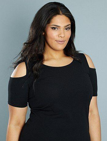 Robe fluide épaules dénudées                                          noir Grande taille femme