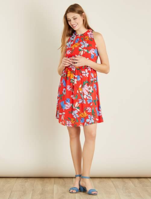 Robe fluide fleurie 'JDY' rouge Femme