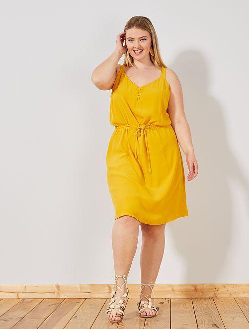 Robe fluide imprimé 'pois'                                         jaune Grande taille femme