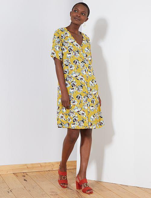 Robe fluide imprimée fleurs 'JDY'                                         jaune