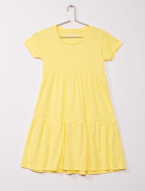 Robe fluide motif 'cœurs'                                         jaune
