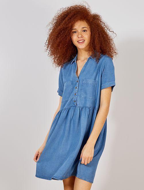 Robe fluide style babydoll                                 bleu denim Femme