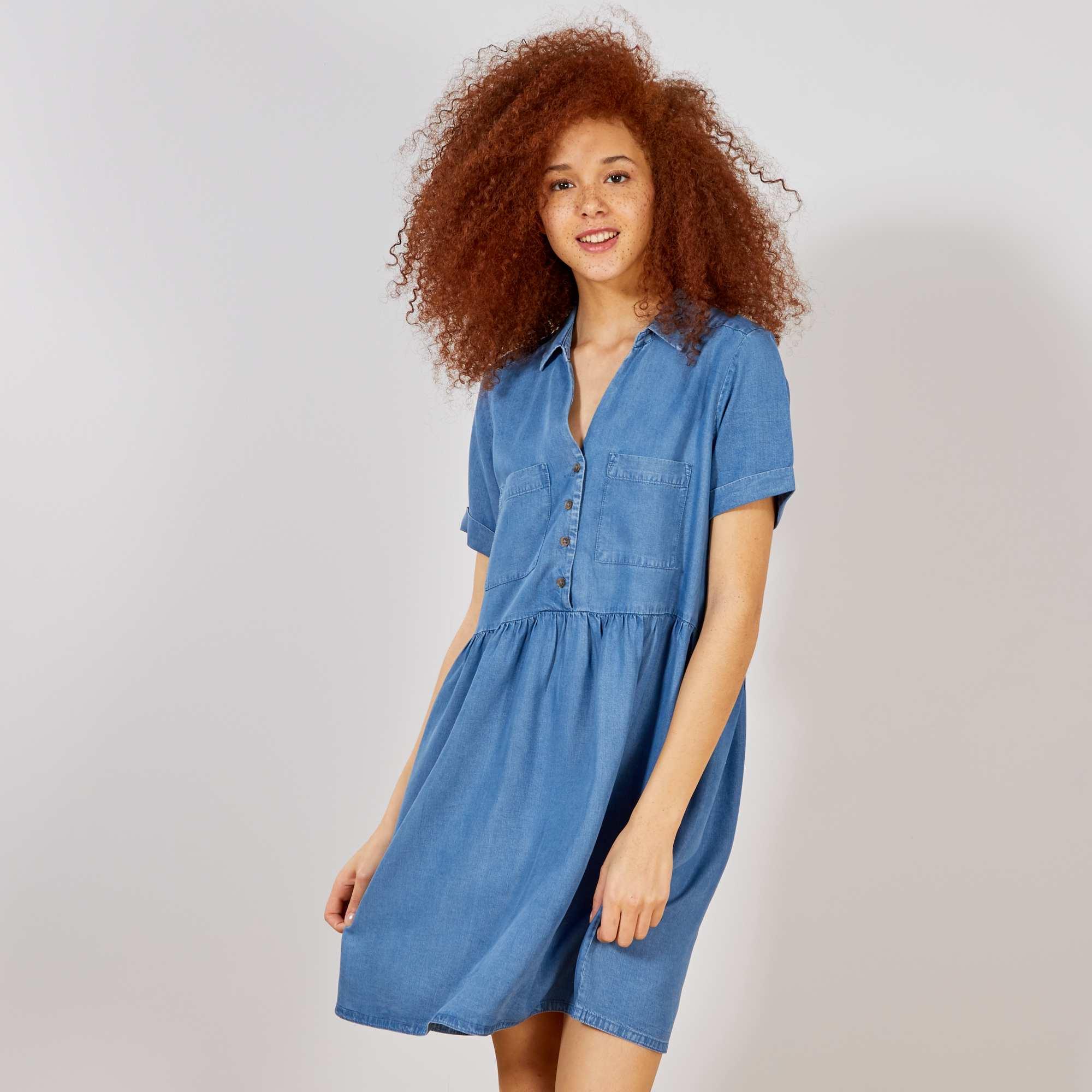ddd354744f7 Robe fluide style babydoll Femme - bleu denim - Kiabi - 20