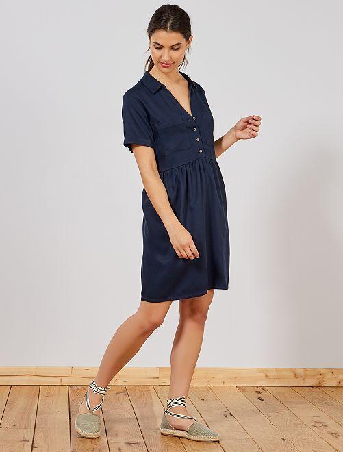 Robe fluide style babydoll                                                                 bleu Femme