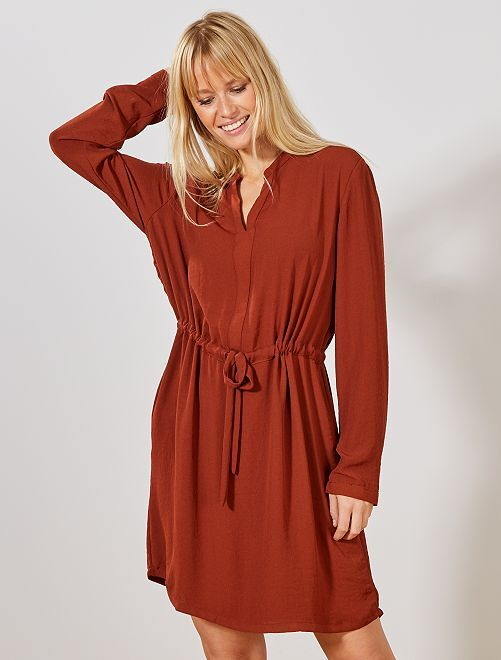 Robe fluide taille coulissante 'JDY'                                         paprika