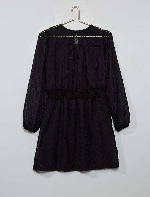Robe fluide taille smockée                                         noir