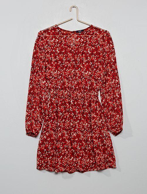 Robe fluide taille smockée                     rouge fleurs