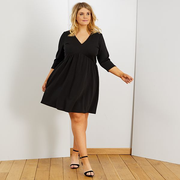 Robe Forme Patineuse Grande Taille Femme Noir Kiabi 22 00