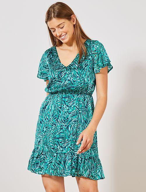 Robe imprimé brillant manches papillon                             vert Femme