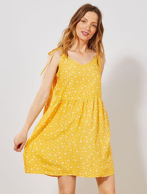 Robe imprimée à 2 encolures                                                                                                                                                                 jaune fleurs Femme