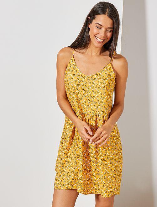 Robe imprimée à 2 encolures                                                                                                                                                                 jaune tulipe Femme