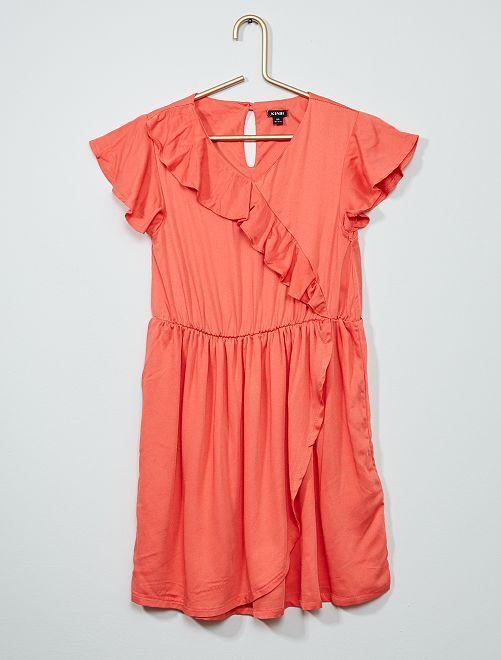 Robe imprimée avec volants                     rose orangé