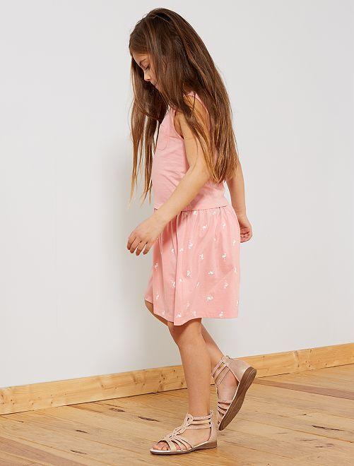 Robe imprimée coton bio                                                                                         rose Fille