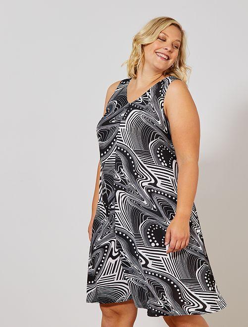 284d3aeb73b Robe imprimée coupe trapèze Grande taille femme - noir blanc - Kiabi ...