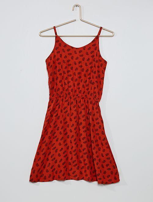 Robe imprimée dos fantaisie                                                                             rouge brique