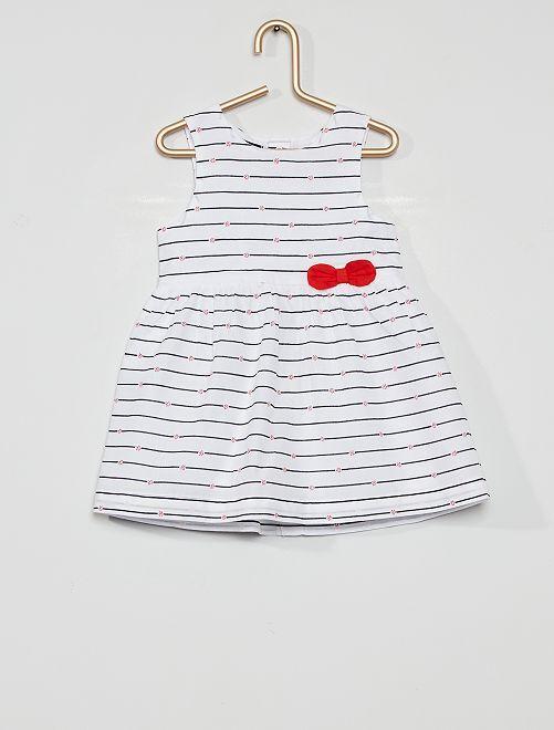 Robe imprimée éco-conçu                                                                                                         blanc rayé
