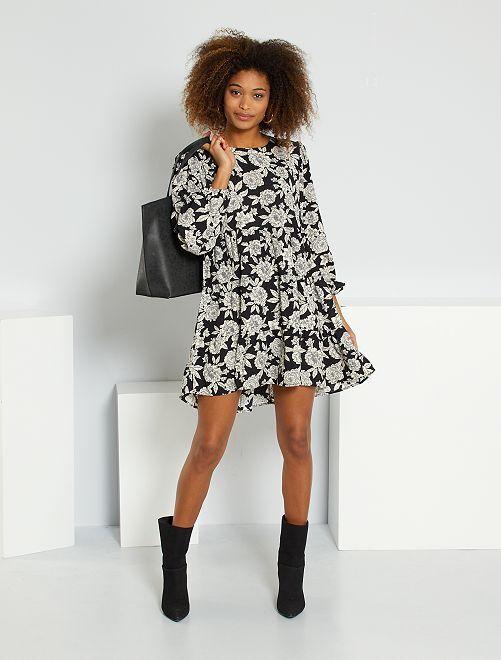 Robe imprimée 'Jacqueline de Yong'                                 noir fleurs