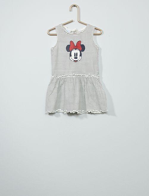 Robe imprimée 'Minnie' à rayures                             blanc
