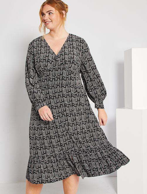Robe longue à boutonnière                             noir