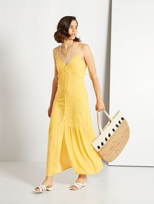 Robe longue à boutons                                                     jaune