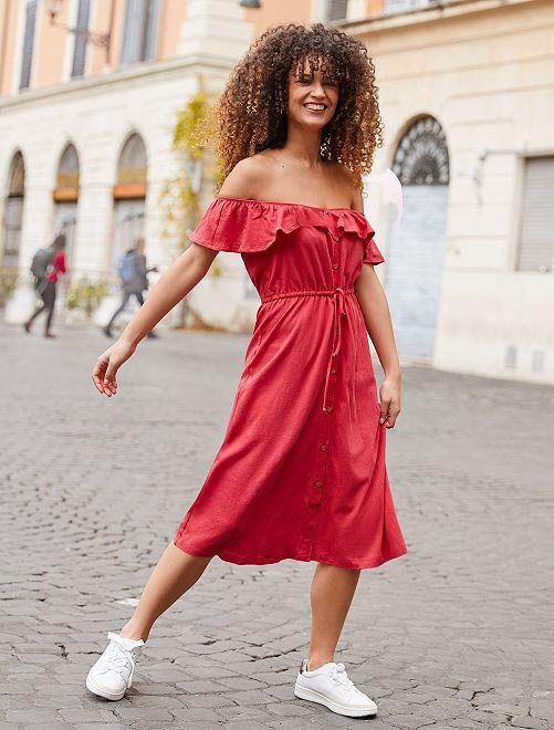 Robe longue à encolure bardot                             rouge cerise Femme