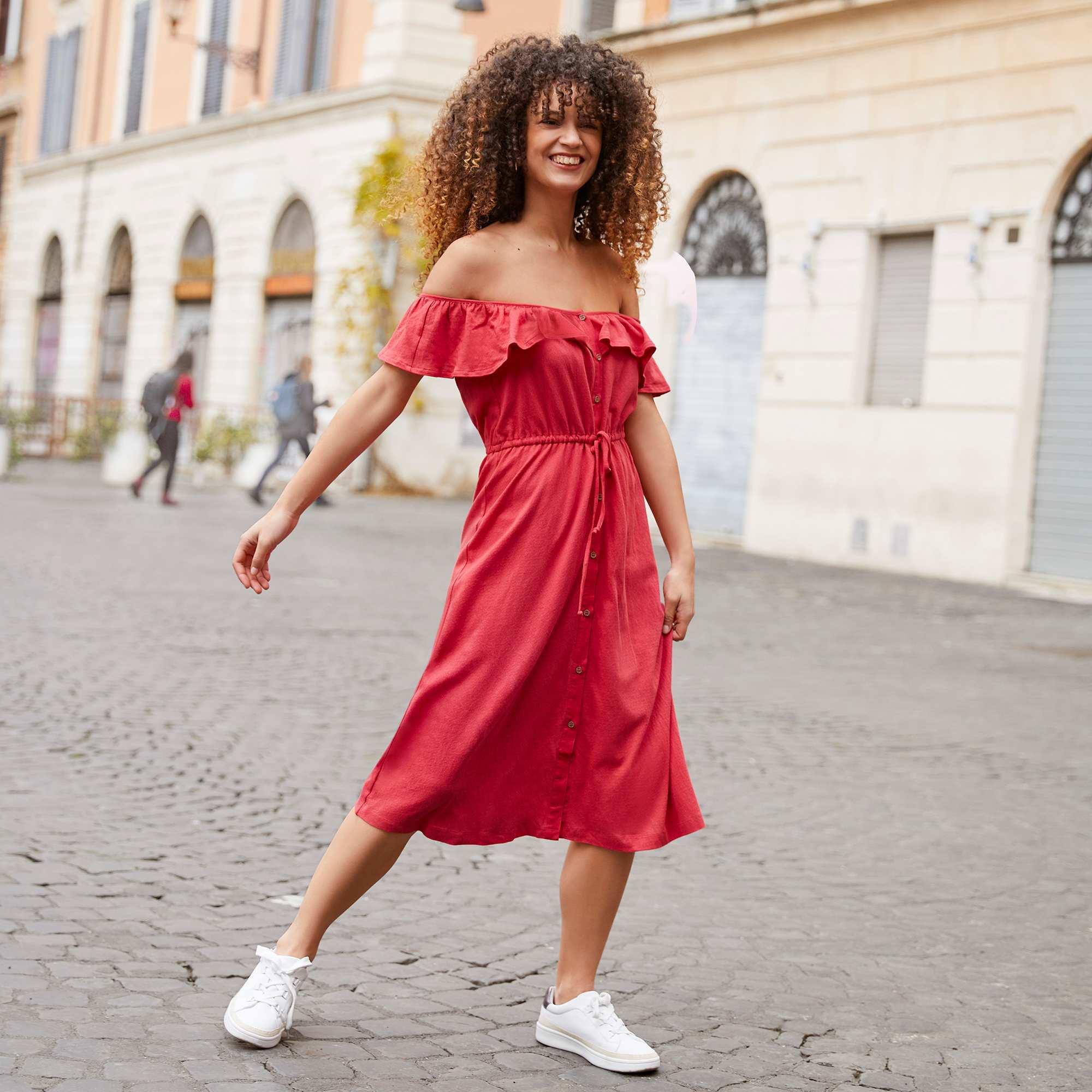 95f1e036304 Robe longue à encolure bardot Femme - rouge cerise - Kiabi - 15