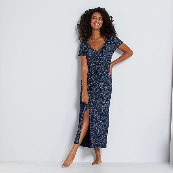 Robe Longue A Taille Coulissee Femme Bleu A Pois Kiabi 7 50