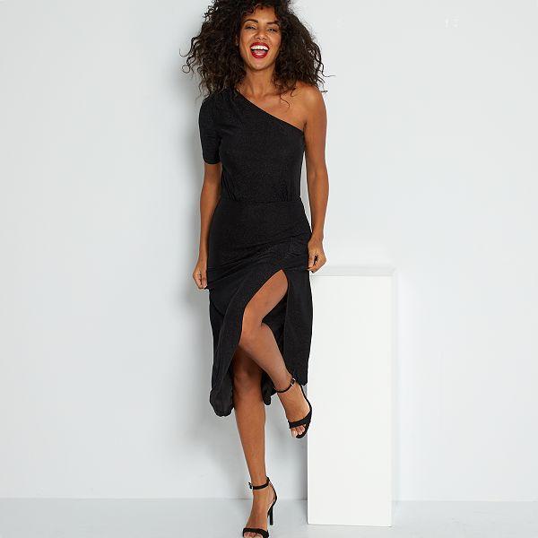 Robe Longue Asymetrique Femme Noir Kiabi 20 00