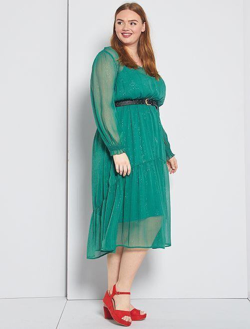 Robe longue avec brillance                                                     vert pin