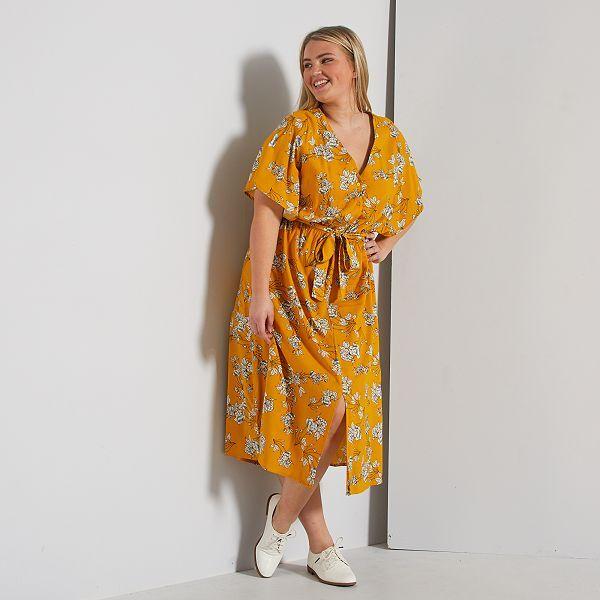 Robe Longue Avec Ceinture Grande Taille Femme Jaune Kiabi 20 00