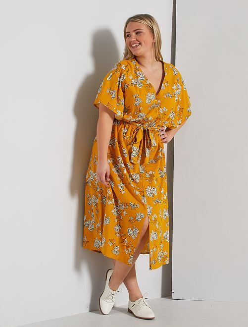 Robe longue avec ceinture                                                     jaune