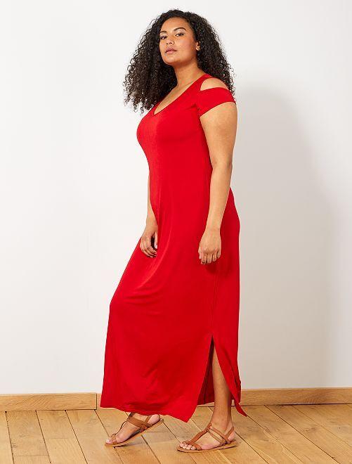 Robe longue avec épaules dénudées                     rouge Grande taille femme