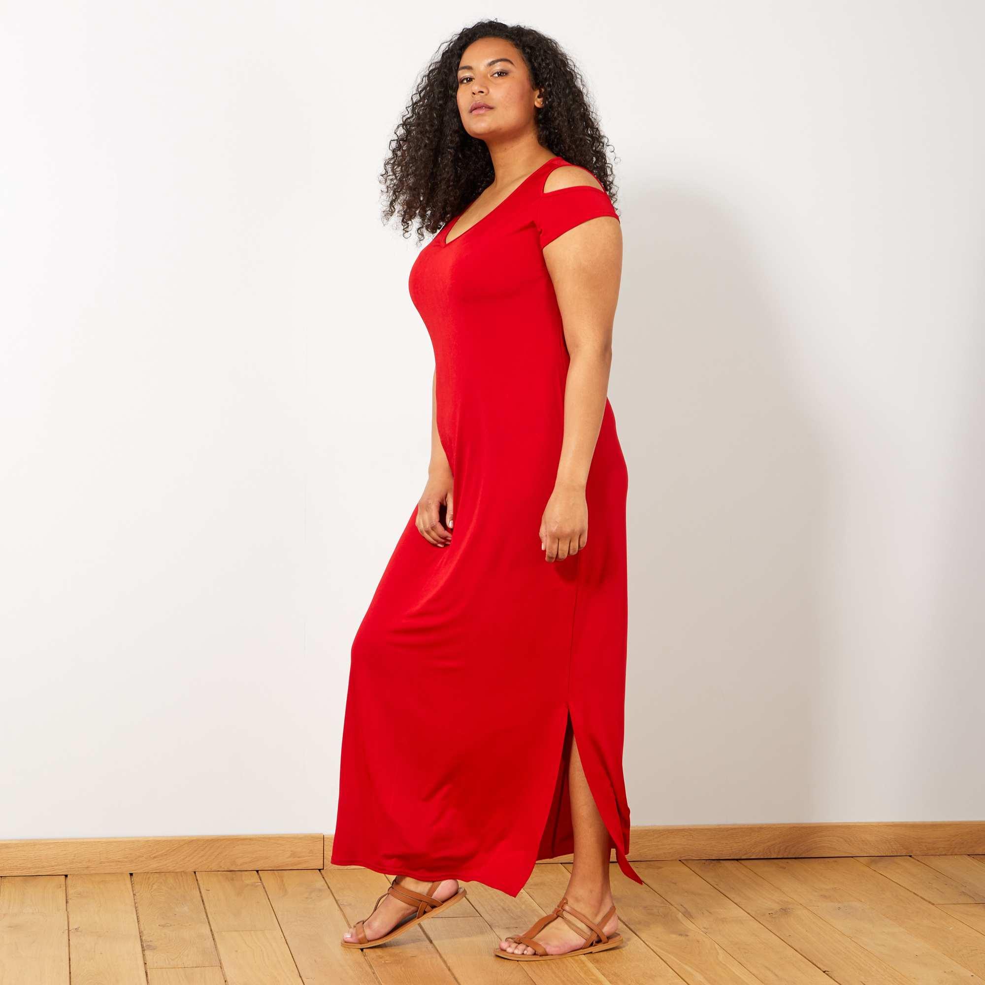 2f970385907 Robe longue avec épaules dénudées Grande taille femme - rouge ...