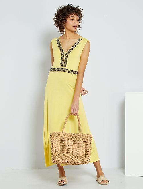 Robe longue avec perles brodées                                                                 jaune