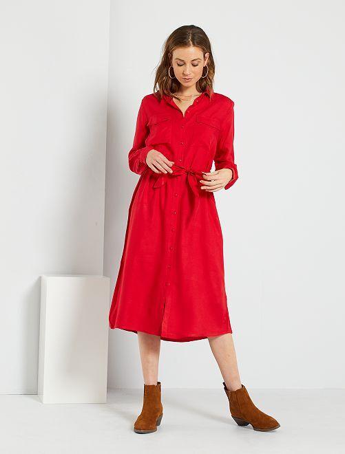 Robe longue chemise                                         rouge