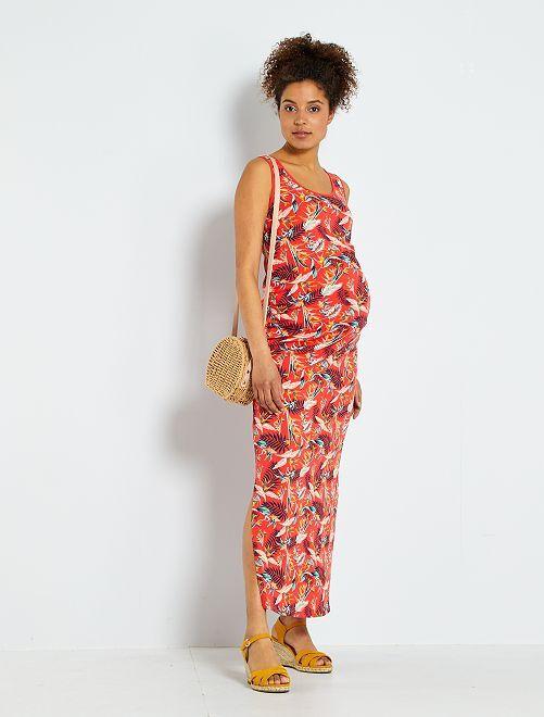 Robe longue de grossesse 'éco-conception'                                                                 rouge