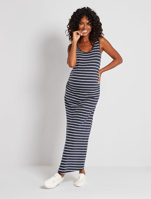 Robe longue de grossesse éco-conçu                                                                 bleu marine/blanc