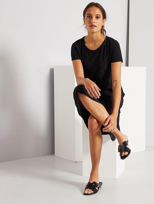 Robe longue effet jupon                             noir
