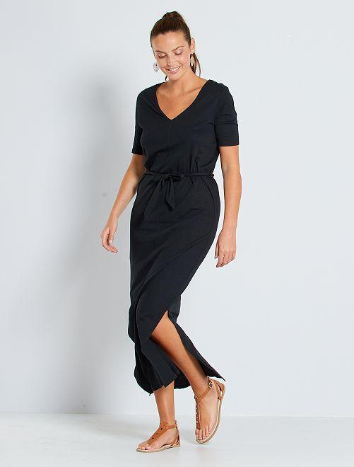 Robe longue en coton 'éco-conception'                                                                                                     noir